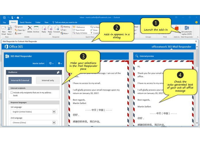 Mail Responder for Outlook – screenshot 1
