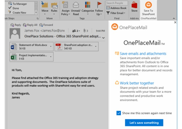 OnePlaceMail for SharePoint Online – screenshot 1