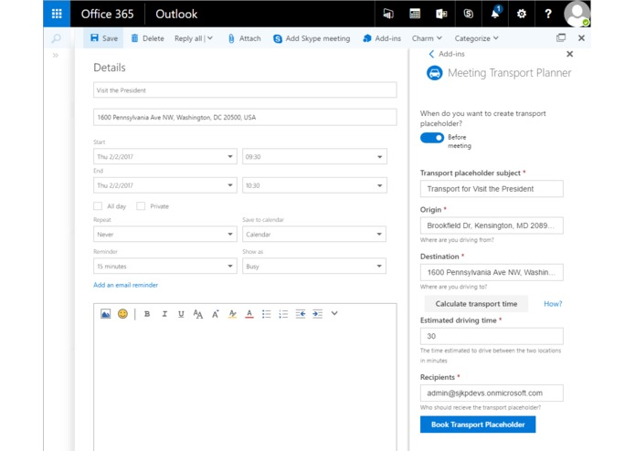 Outlook Meeting Transport Planner – screenshot 1