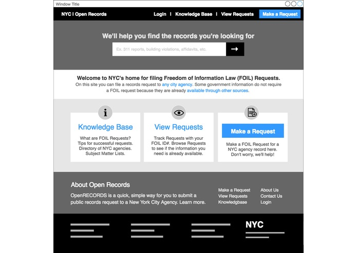 NYC OpenRecords UX Hackathon – screenshot 2