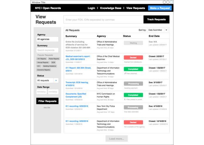 NYC OpenRecords UX Hackathon – screenshot 5