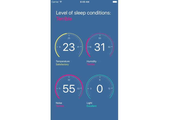 Room condition sensors that help to sleep better – screenshot 1