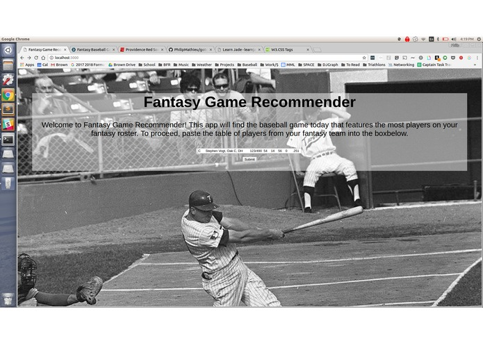 Fantasy Baseball Game Recommender – screenshot 1