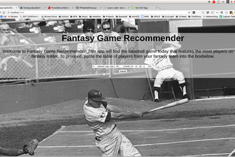 Fantasy Baseball Game Recommender