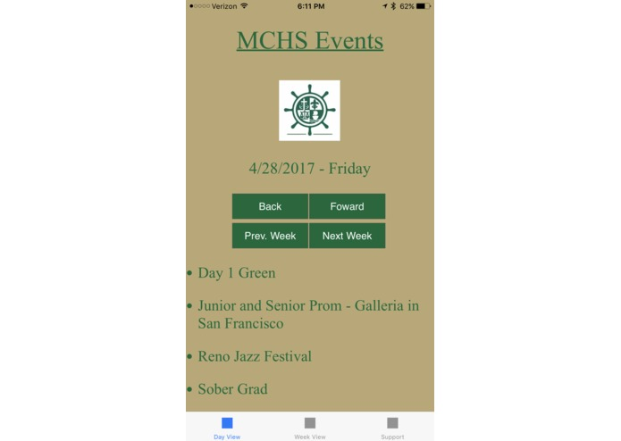 MCHS Events – screenshot 1