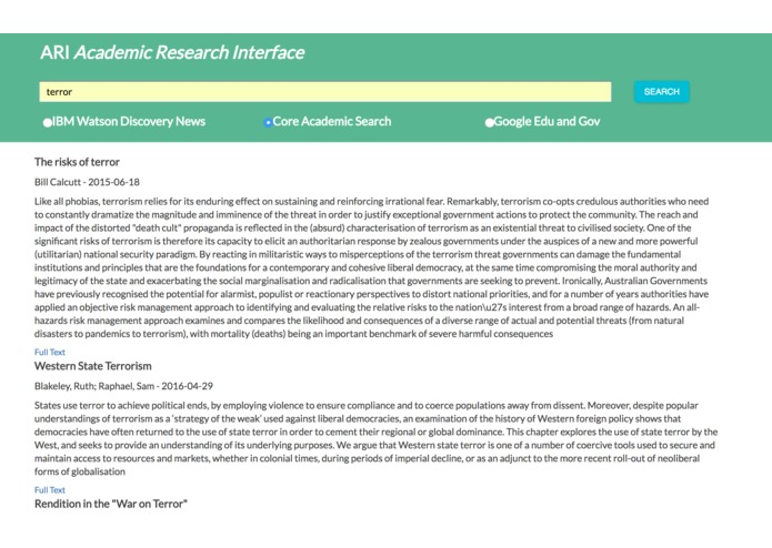 ARI (Academic Research Interface) – screenshot 1