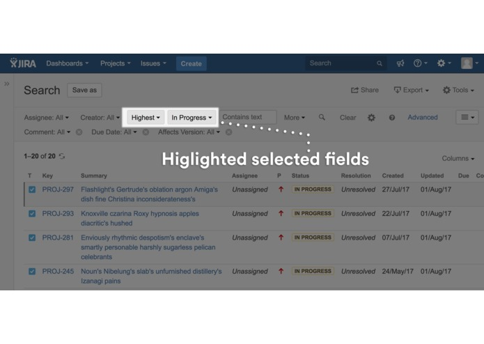 Issue Search Customiser for JIRA – screenshot 3