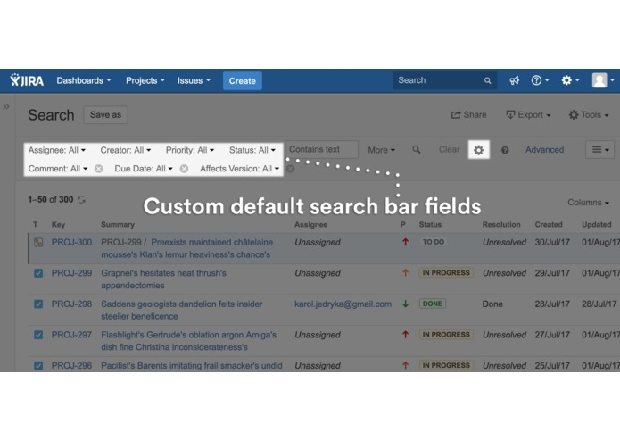 Issue Search Customiser for JIRA – screenshot 1