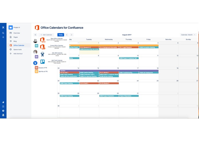 Office Calendars for Confluence – screenshot 1