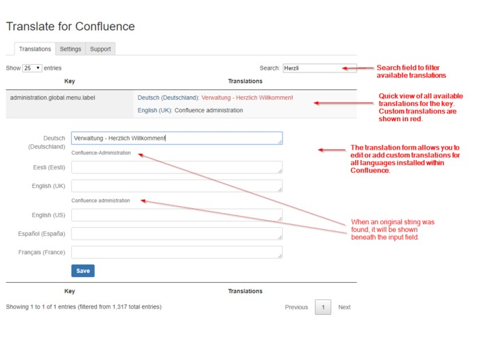 Translate for Confluence – screenshot 2