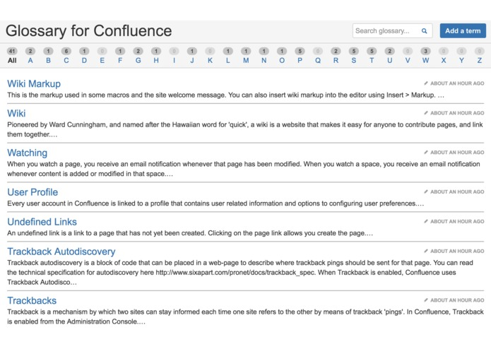 Glossary for Confluence Cloud – screenshot 1