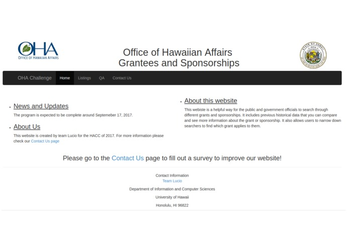 Office of Hawaii Affairs Grants & Scholarships Website – screenshot 1