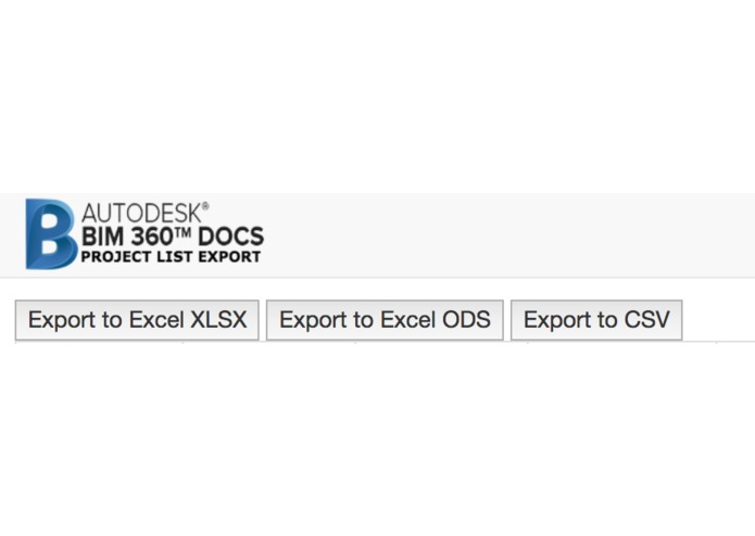 BIM 360 Docs Project List Export – screenshot 1