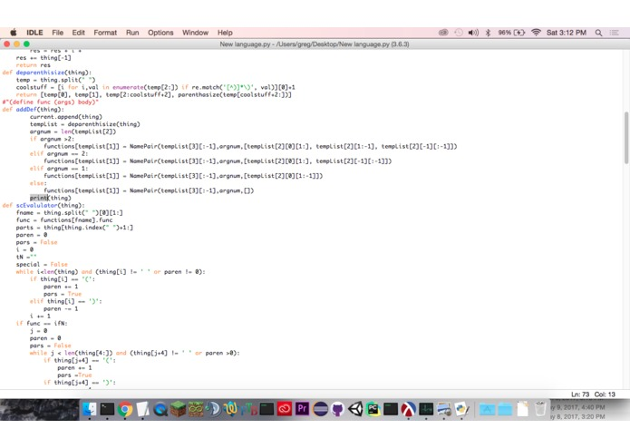 Project programing language – screenshot 1