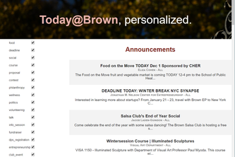 Today@Brown Personalized