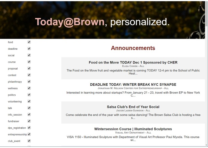 Today@Brown Personalized (Competition) – screenshot 1