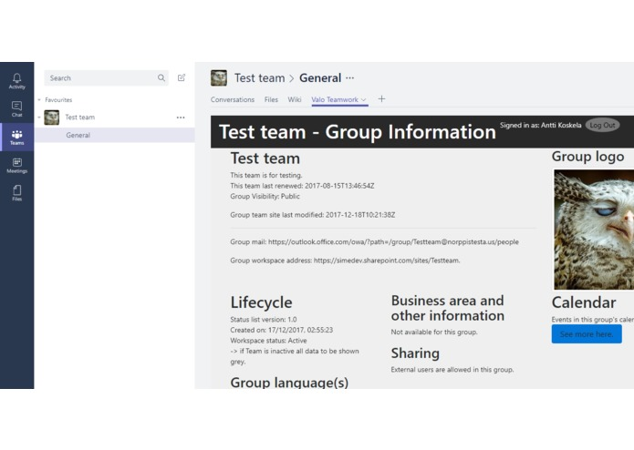 Using Graph API to build better work context in Teams – screenshot 1