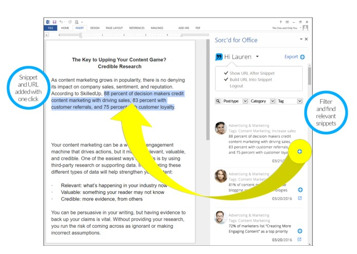 Sorc'd-Add snippets of relevant content to Outlook – screenshot 2