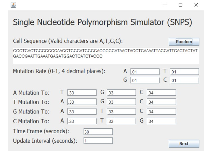 Single Nucleotide Polymorphism Simulator (SNPS) – screenshot 2