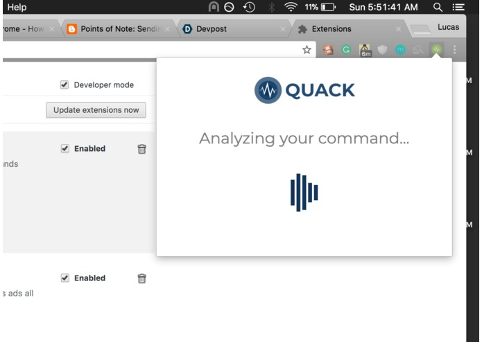 Quack - Voice Controlled Action Automation for Chrome – screenshot 1
