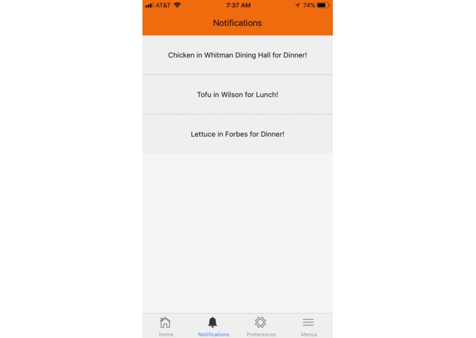notifyMEal – screenshot 2