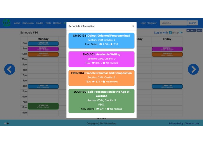 PlanetTerp Scheduler – screenshot 3
