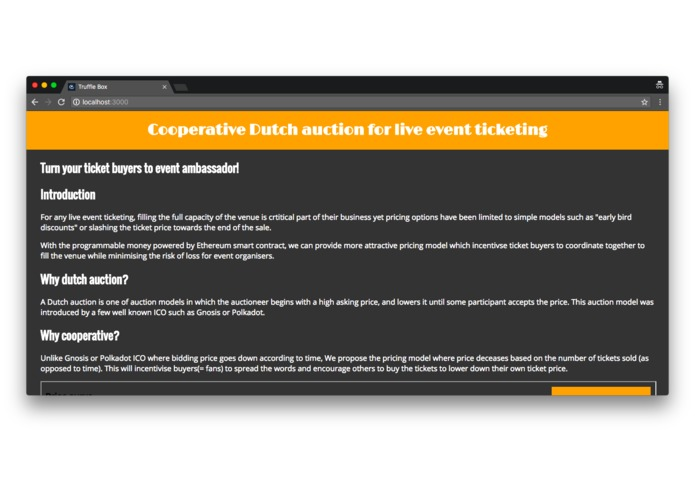 Cooperative Dutch auction for live event ticketing – screenshot 1