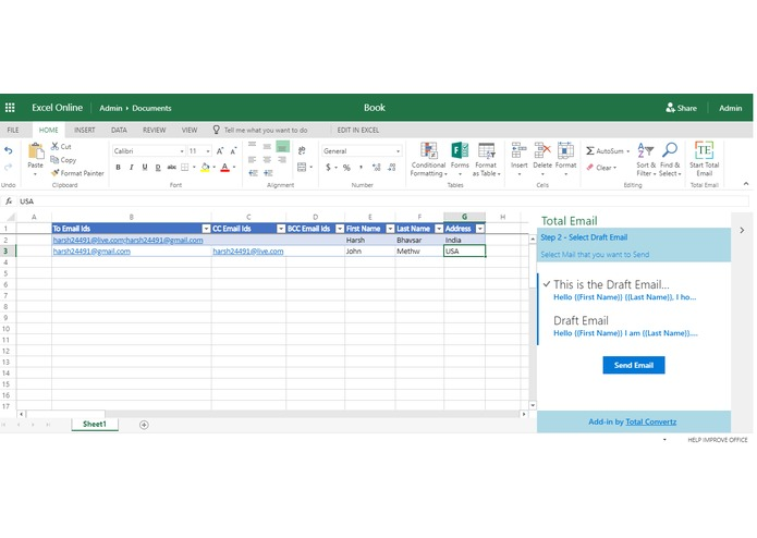 Total Email - An Excel add-in for Office 365 – screenshot 5