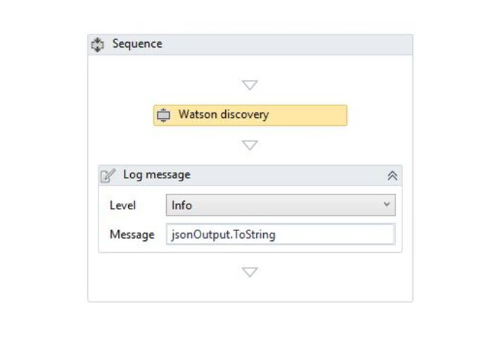 IBM Watson Discovery Service UiPath Connector – screenshot 1