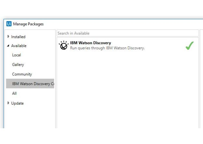 IBM Watson Discovery Service UiPath Connector – screenshot 3