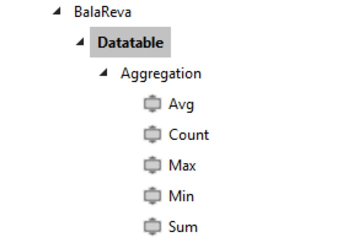 Datatable Aggregation Activities – screenshot 1