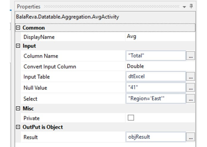 Datatable Aggregation Activities – screenshot 3