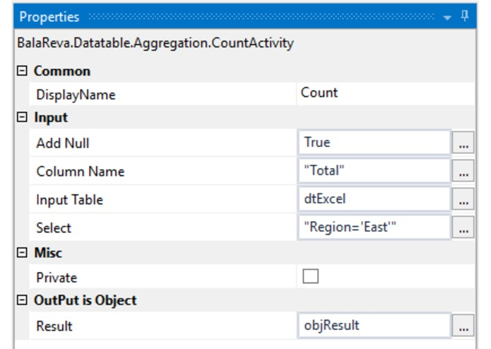 Datatable Aggregation Activities – screenshot 4