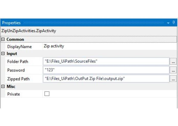 Zip /Unzip Activity -UiPath custom activity  – screenshot 3