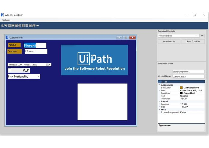 SyForms - UiPath Forms Designer – screenshot 1