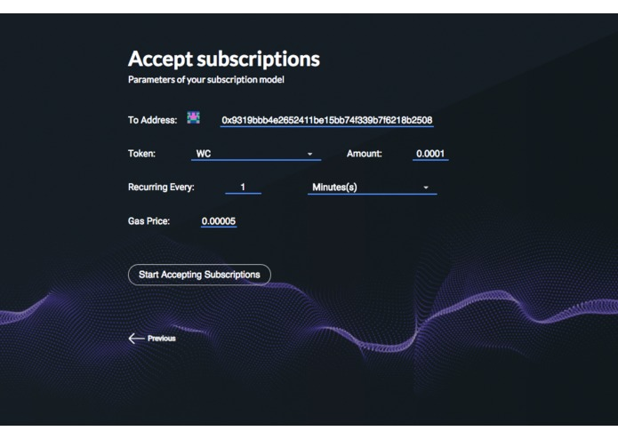 Token Subscription – screenshot 2