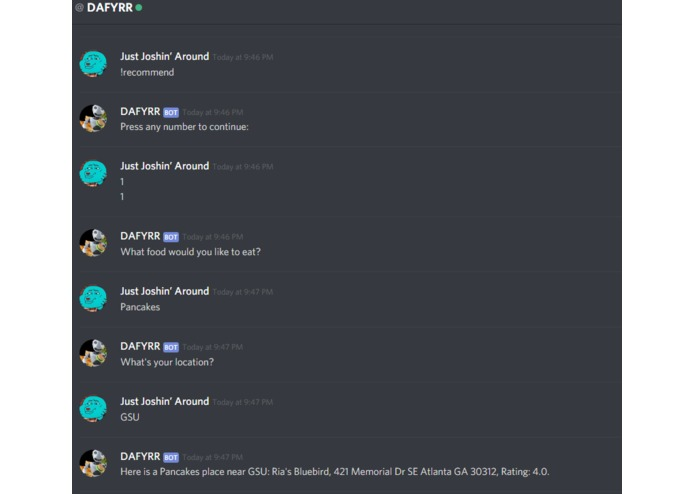 D A Y F R  (Discord And Yelp Food Recommend-er) | Devpost