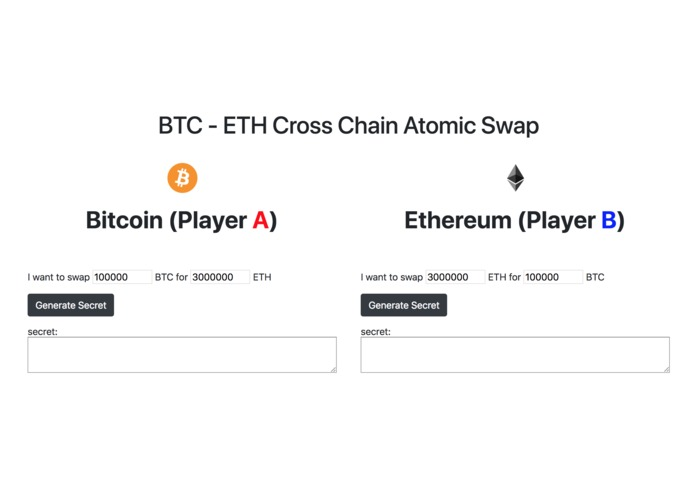 BTC - ETH Cross Chain Atomic Swap – screenshot 1