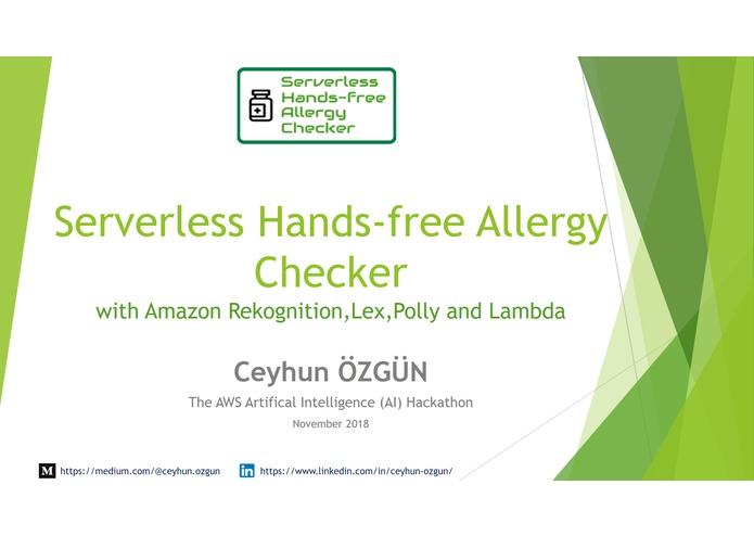 Serverless Hands-free Allergy Checker – screenshot 1