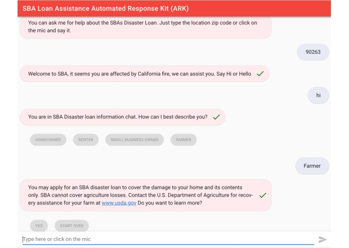 SBA Loan Assistance  Automated Response Kit (ARK) – screenshot 2