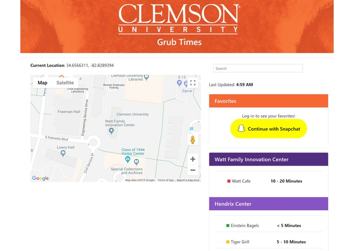 Clemson University Grub Time – screenshot 1