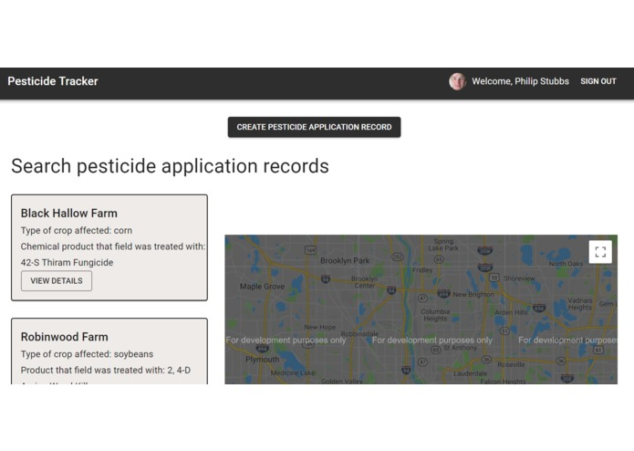 pesticide-tracker – screenshot 2