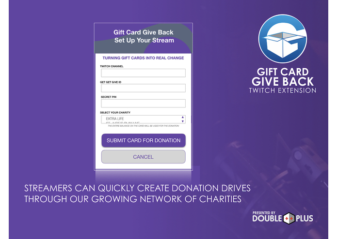 The Gift Card Give Back Twitch Extension | Devpost