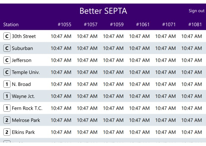 Better SEPTA (Team 10-F) – screenshot 1