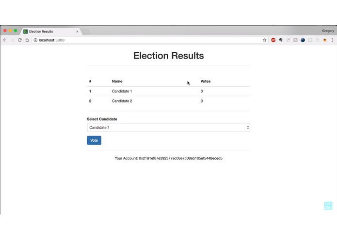 Decentralized voting application using ethereum blockchain – screenshot 1