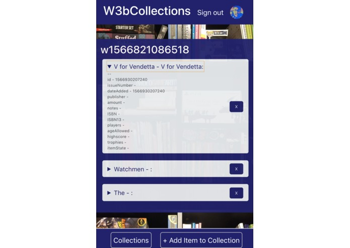 W3bCollections | A Decentralised Collections App – screenshot 4