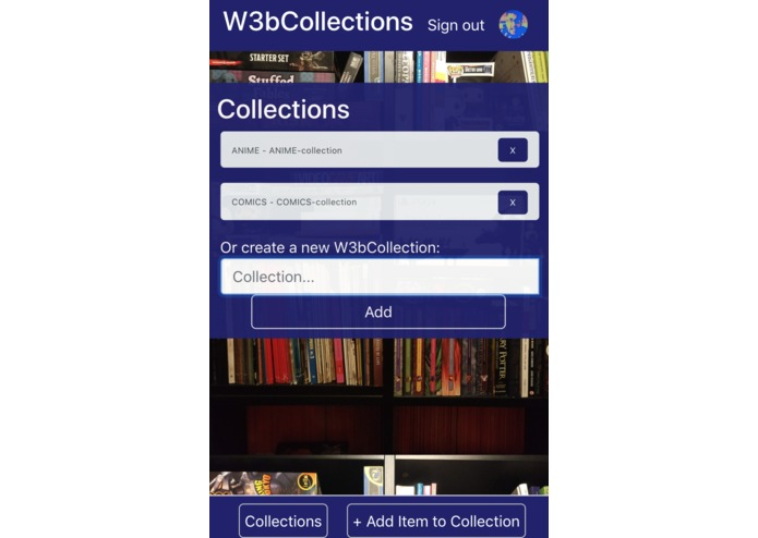 W3bCollections | A Decentralised Collections App – screenshot 2