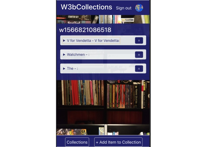 W3bCollections | A Decentralised Collections App – screenshot 3
