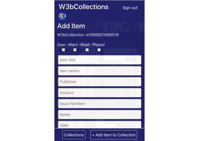 W3bCollections | A Decentralised Collections App – screenshot 5