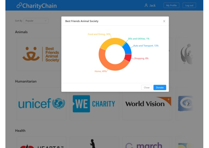 CharityChain – screenshot 2